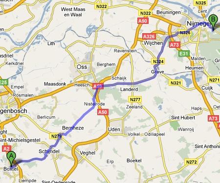 Boxtel-Nijmegen zonder snelweg
