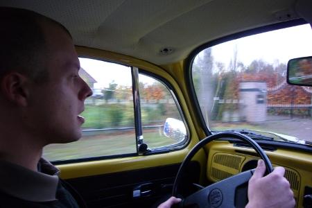 Geert achter het stuur