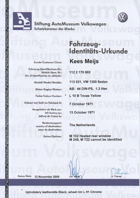 Fahrzeug-Identitäts-Urkunde