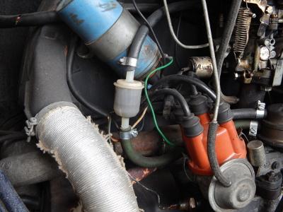 Gevaarlijk geplaatste benzinefilter